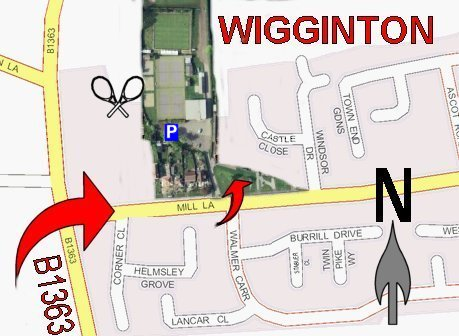 Map showing directions to Wigginton Tennis Club